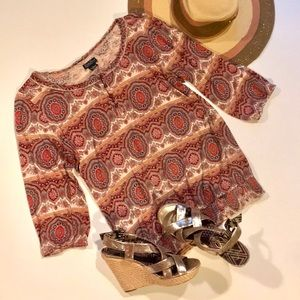 Lucky Brand Red and Cream Paisley Blouse